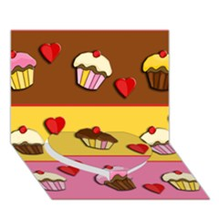 Love Cupcakes Heart Bottom 3d Greeting Card (7x5) by Valentinaart