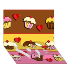 Love Cupcakes Love Bottom 3d Greeting Card (7x5) by Valentinaart