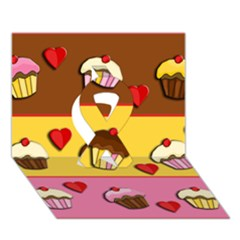 Love Cupcakes Ribbon 3d Greeting Card (7x5) by Valentinaart