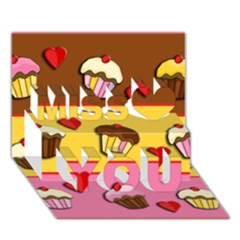 Love Cupcakes Miss You 3d Greeting Card (7x5) by Valentinaart