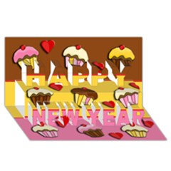 Love Cupcakes Happy New Year 3d Greeting Card (8x4) by Valentinaart