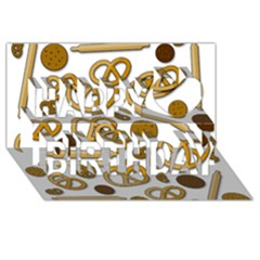 Bakery 3 Happy Birthday 3d Greeting Card (8x4) by Valentinaart