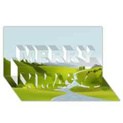 Scenery Merry Xmas 3d Greeting Card (8x4)