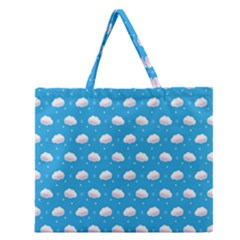 Seamless Fluffy Cloudy And Sky Zipper Large Tote Bag