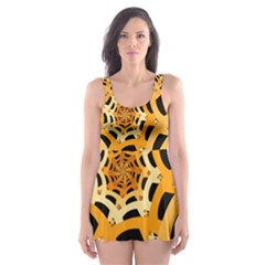 Spider Helloween Yellow Skater Dress Swimsuit by AnjaniArt