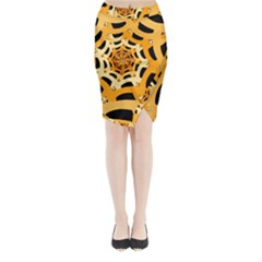 Spider Helloween Yellow Midi Wrap Pencil Skirt