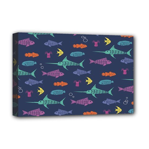Twiddy Tropical Fish Pattern Deluxe Canvas 18  X 12   by AnjaniArt