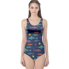 Twiddy Tropical Fish Pattern One Piece Swimsuit by AnjaniArt