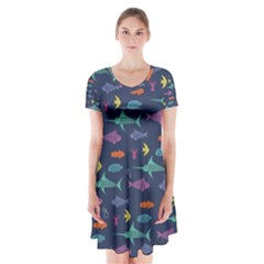 Twiddy Tropical Fish Pattern Short Sleeve V Neck Flare Dress