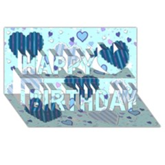 Light And Dark Blue Hearts Happy Birthday 3d Greeting Card (8x4) by LovelyDesigns4U