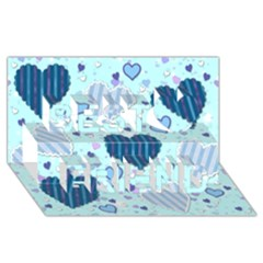 Light And Dark Blue Hearts Best Friends 3d Greeting Card (8x4) by LovelyDesigns4U