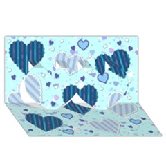 Light And Dark Blue Hearts Twin Hearts 3d Greeting Card (8x4) by LovelyDesigns4U