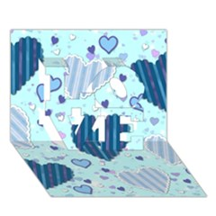 Light And Dark Blue Hearts Love 3d Greeting Card (7x5) by LovelyDesigns4U