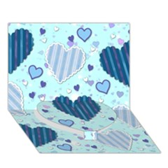 Light And Dark Blue Hearts Heart Bottom 3d Greeting Card (7x5) by LovelyDesigns4U