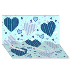Light And Dark Blue Hearts Twin Heart Bottom 3d Greeting Card (8x4) by LovelyDesigns4U