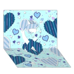 Light And Dark Blue Hearts Ribbon 3d Greeting Card (7x5) by LovelyDesigns4U