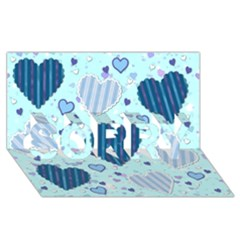 Light And Dark Blue Hearts Sorry 3d Greeting Card (8x4) by LovelyDesigns4U