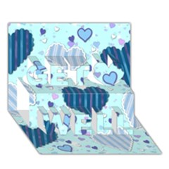 Light And Dark Blue Hearts Get Well 3d Greeting Card (7x5) by LovelyDesigns4U