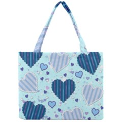 Light And Dark Blue Hearts Mini Tote Bag by LovelyDesigns4U