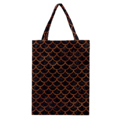 Scales1 Black Marble & Brown Marble Classic Tote Bag by trendistuff