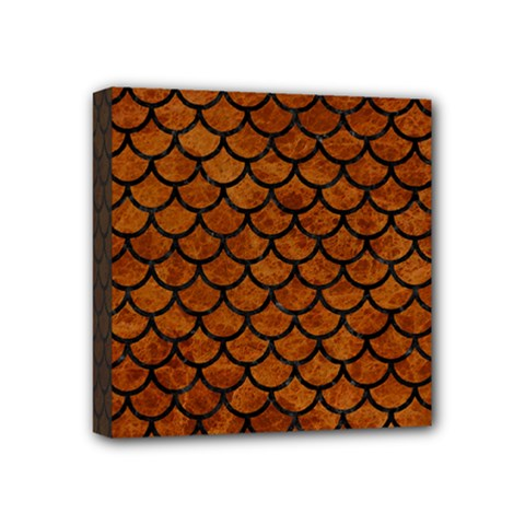 Scales1 Black Marble & Brown Marble (r) Mini Canvas 4  X 4  (stretched) by trendistuff