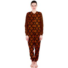 Scales1 Black Marble & Brown Marble (r) Onepiece Jumpsuit (ladies)
