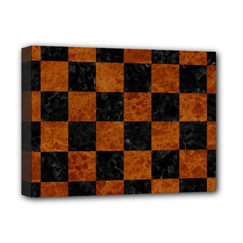 Square1 Black Marble & Brown Marble Deluxe Canvas 16  X 12  (stretched)  by trendistuff