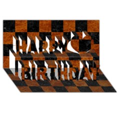 Square1 Black Marble & Brown Marble Happy Birthday 3d Greeting Card (8x4) by trendistuff