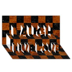 Square1 Black Marble & Brown Marble Laugh Live Love 3d Greeting Card (8x4)