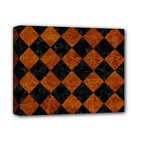 Square2 Black Marble & Brown Marble Deluxe Canvas 14  X 11  (stretched) by trendistuff