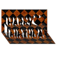 Square2 Black Marble & Brown Marble Happy Birthday 3d Greeting Card (8x4) by trendistuff