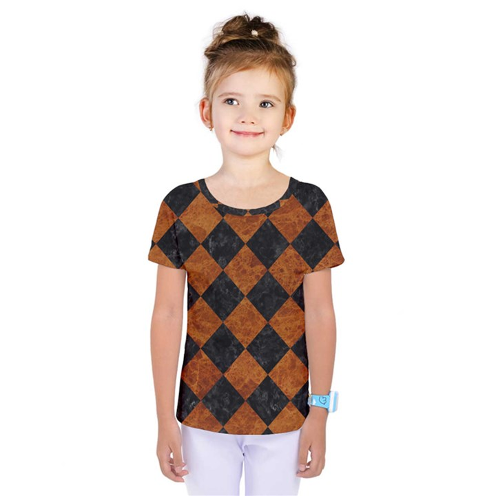 SQUARE2 BLACK MARBLE & BROWN MARBLE Kids  One Piece Tee