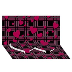 Harts Pattern Twin Heart Bottom 3d Greeting Card (8x4) by Valentinaart