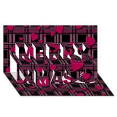 Harts Pattern Merry Xmas 3d Greeting Card (8x4) by Valentinaart