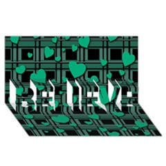 Green Love Believe 3d Greeting Card (8x4)