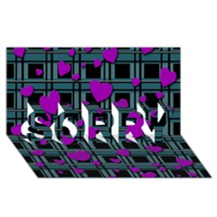 Purple Love Sorry 3d Greeting Card (8x4) by Valentinaart