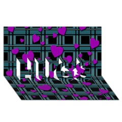 Purple Love Hugs 3d Greeting Card (8x4) by Valentinaart