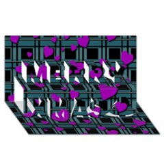 Purple Love Merry Xmas 3d Greeting Card (8x4) by Valentinaart