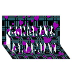 Purple Love Congrats Graduate 3d Greeting Card (8x4) by Valentinaart