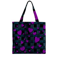 Purple Love Zipper Grocery Tote Bag by Valentinaart