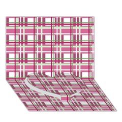 Pink Plaid Pattern Heart Bottom 3d Greeting Card (7x5) by Valentinaart