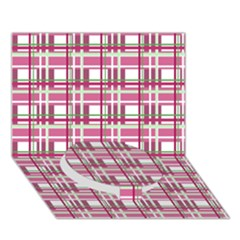 Pink Plaid Pattern Circle Bottom 3d Greeting Card (7x5) by Valentinaart