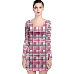 Pink Plaid Pattern Long Sleeve Bodycon Dress