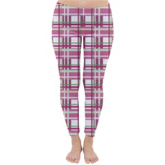 Pink Plaid Pattern Classic Winter Leggings