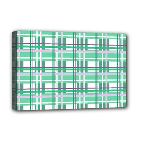 Green Plaid Pattern Deluxe Canvas 18  X 12   by Valentinaart