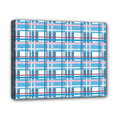 Blue Plaid Pattern Canvas 10  X 8  by Valentinaart