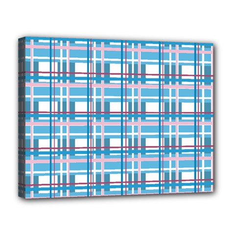 Blue Plaid Pattern Canvas 14  X 11  by Valentinaart