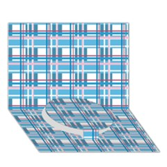 Blue Plaid Pattern Circle Bottom 3d Greeting Card (7x5) by Valentinaart