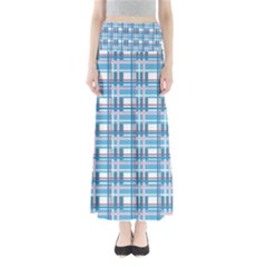 Blue Plaid Pattern Maxi Skirts by Valentinaart