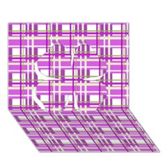 Purple Plaid Pattern Clover 3d Greeting Card (7x5) by Valentinaart